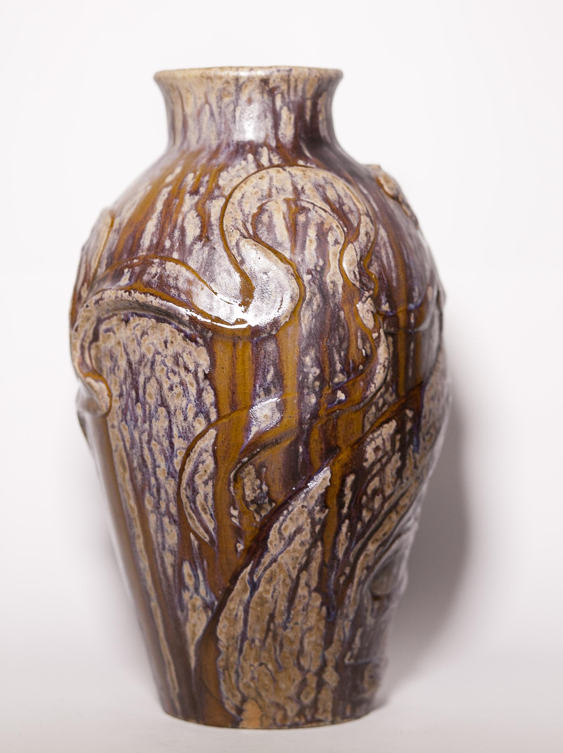 Alexandre Bigot Rare Lo 239 E Fuller Vase By Alois Reinitzer